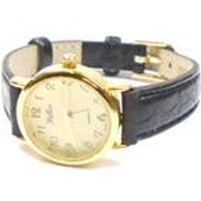 Round face black strap watch