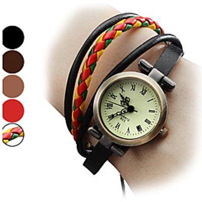 Women's Fashional Style PU Analog Quartz Bracelet Watch (Assorted Colors) Cool Watches Unique Watche