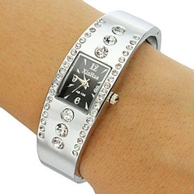 Women's Rectangle Dial Diamante Alloy Band Bracelet Watch (Assorted Colors) Cool Watches Unique Watc