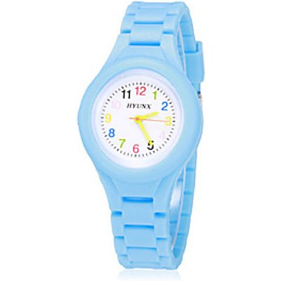 Children's Colorful Dial Bright Color Silicone Band Quartz Analog Wrist Watch (Assorted Colors) Cool
