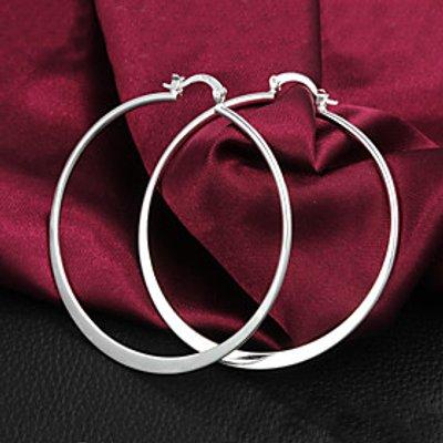 Gift For Girlfriend Classic Silver Plated Hoop Earrings (1 Pair)