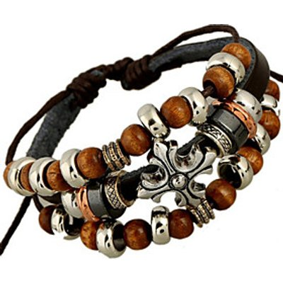Classic Archaistic 20cm Men's Black Leather Strand Bracelet()(1 Pc) Jewelry Christmas Gifts