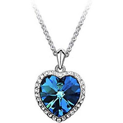 Women's Pendant Necklaces Zircon Cubic Zirconia Rhinestone Alloy Heart Fashion Blue Jewelry Party Da