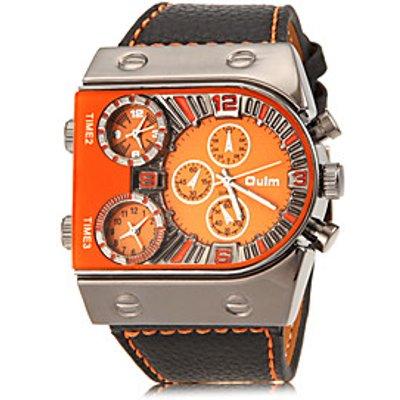 OULM Men's Robot Shape Round Dial PU Band Quartz Analog Fashion Watch (Assorted Color) Cool Watch Un