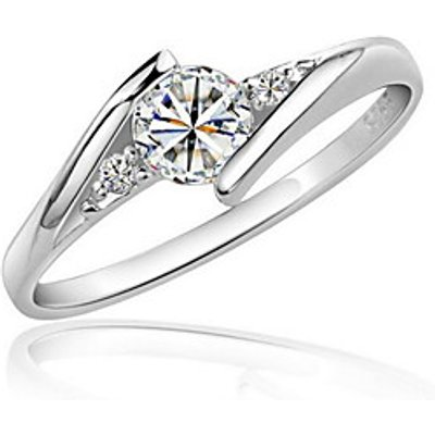 Ring Imitation Diamond Love Elegant Zircon Cubic Zirconia Platinum Plated Round Silver Jewelry For W