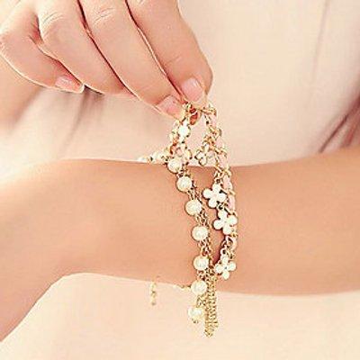ZX  Artistic Pearl 45cm Women Golden Alloy Charm Bracelet(Multicolor,White)(1 Pc) Christmas Gifts