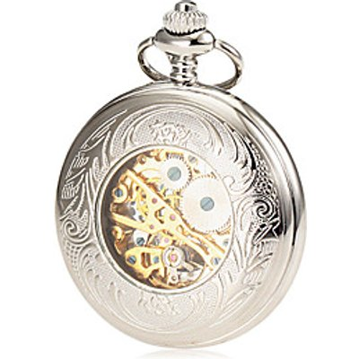 Men's Mechanical Hollow Cover Silver Alloy Pocket Watch Cool Watch Unique Watch Fashion Watch