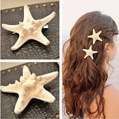 Shixin European Starfish Shape White Cowry Barrettes For Women(Ramdon Size)(1 Pc) Mermaid