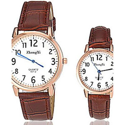 Couple's Simple Design PU Band Quartz Wrist Watch (Assorted Colors) Cool Watches Unique Watches Stra