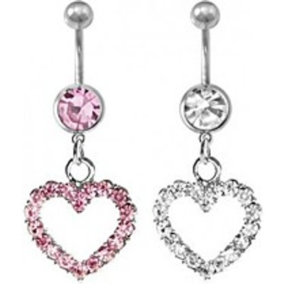 Lureme316L Surgical Titanium Steel Crystal Loving Heart Pendant Navel Ring(Random Color)