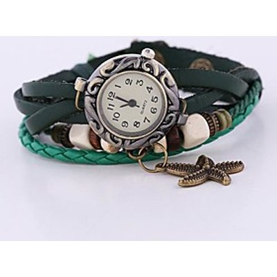 Coway New Women's Round Dial Green Leather  Band Quartz Analog  Braceiet Watch Cool Watches Unique W
