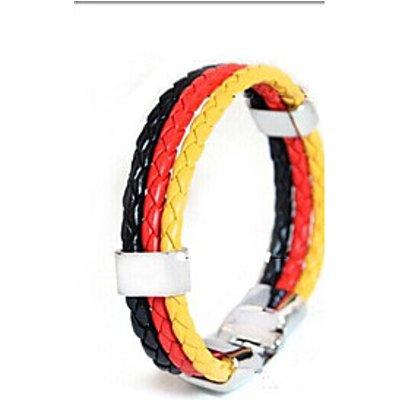 European Football Memorial  22cm Unisex   Leather Bracelet(Red,Blue)(1 Pc) Christmas Gifts