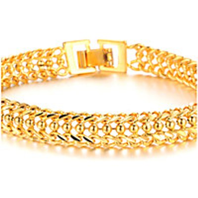 Cool Domineering 18 K Gold Jewelry Super Classic Boys Bracelet Texture Christmas Gifts