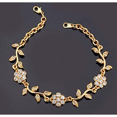 U7 Elegant Bracelets Olive Leaf Design Clear Austrian Rhinestone 18K Gold Plated Fashion Jewelry  Fo
