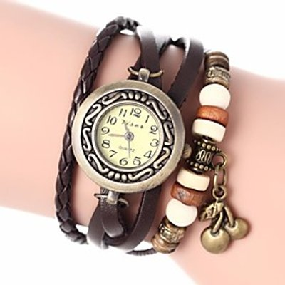 Women's Vintage Style Cherry Pendant Leather Band Quartz Analog Bracelet Watch (Assorted Colors) Coo