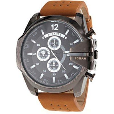 JUBAOLI Men's Military Style Black Case Khaki Leather Band Quartz Wrist Watch Cool Watch Unique Watc