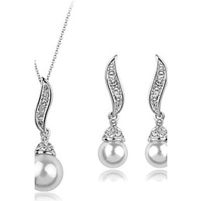 Women European Style Fashion Elegant Angel Wings Cubic Zirconia Imitation Pearl Necklace Earrings Se