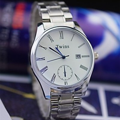 L.WEST Men's Steel Belt Of Waterproof Blue Glass CalendarQuartz Pointer Watch Wrist Watch Cool Watch