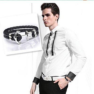 Men's Anchor Leather Bracelet(1pc,Black) Christmas Gifts