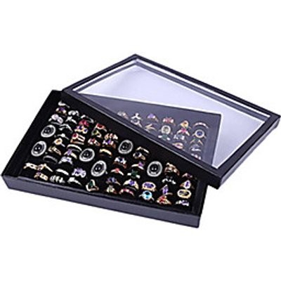 Classic Nice One Hundred Sets Wing Jewelry Cover Stand Multicolor Acrylic Jewelry Boxes(1 Pc)(Black,