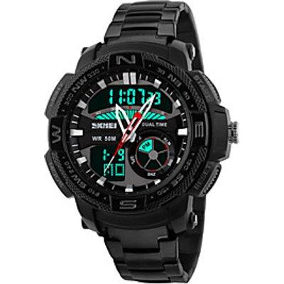 Skmei Men's Stainless Steel Sports Multifunction Wrist Watch 30m Waterproof Assorted Colors Cool Wat