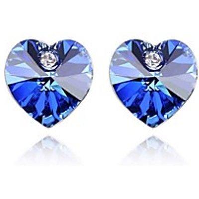 Heart Stud Earrings Jewelry Women Heart Wedding Party Daily Casual Crystal 1set Silver