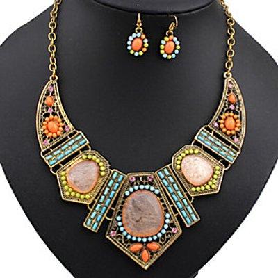 Jewelry Set Turquoise Alloy Simulated Diamond Rainbow Wedding Party 1set Necklaces Earrings Wedding
