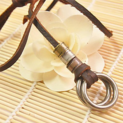 Vilam Double Rings Leather Necklace Copper Necklace Pendant Necklaces Sports 1pc Christmas Gifts