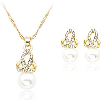 Lucky Doll Alloy / Imitation Pearl / Rhinestone / Rose Gold Plated Jewelry Set Necklace/Earrings Wed