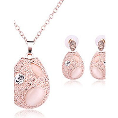 Jewelry Set Opal Basic Rhinestone Opal Alloy Oval 1 Necklace 1 Pair of Earrings For Wedding Party Sp
