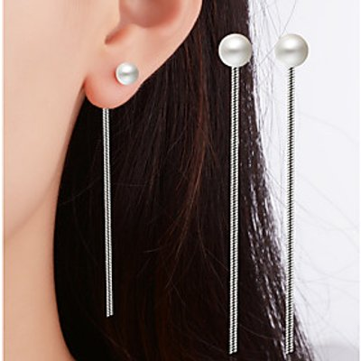 Drop Earrings Imitation Pearl Dangling Style Classic Silver Plated Alloy Single Strand Jewelry ForWe