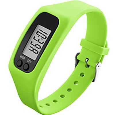 Men's Women's Sport Watch Wristwatch Digital LCD Pedometer Colorful Silicone Band Candy Color Black