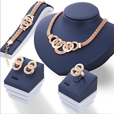 Jewelry Set Euramerican Alloy Round 1 Necklace 1 Pair of Earrings 1 Bracelet 1 Ring For Daily 1set W