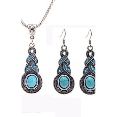 Jewelry Set Turquoise Alloy Water Crystal Drop Earrings Bule Pendant Necklaces Wedding Casual 1set