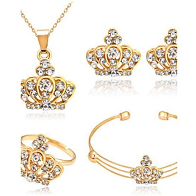 Jewelry Set Crystal Basic Rhinestone Alloy Crown 1 Necklace 1 Pair of Earrings 1 Bracelet Rings For