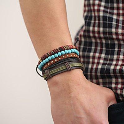 The New Vintage Cowhide Ancient Hand Woven Bracelet Cortical Layers Hand Rope Men's Bracelet Adjusta