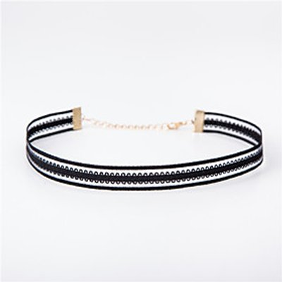 Women's Elastic Mesh Choker Necklaces Jewelry Lace Fabric Basic Unique Design Tattoo Style Jewelry F