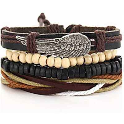 Bracelet Wrap Bracelet Leather Wings/Feather Gothic Vintage Special Occasion Gift Jewelry Gift Brown