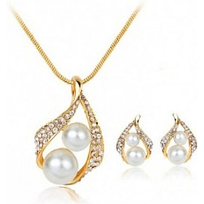 Jewelry Set Rhinestone Basic Imitation Pearl Rhinestone Alloy Drop 1 Necklace 1 Pair of Earrings For