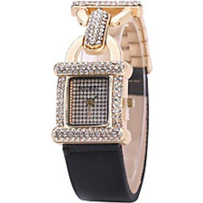 Women Simulated Diamond Watch Bracelet Watch Quartz PU Band Unique Creative Black