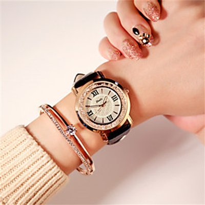 Women's Fashion Watch Japanese Quartz Water Resistant / Water Proof Leather Band Sparkle Black White