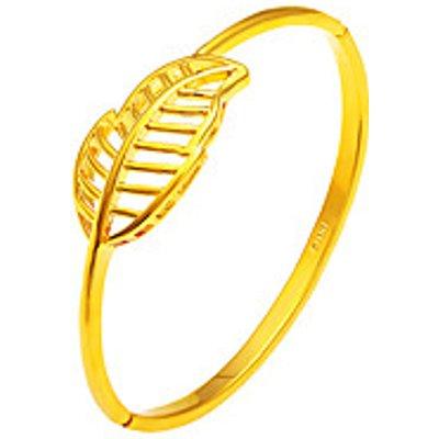 24K Gold Plated Leaf Leaves Shape Bangle Bracelet Fashion Vintage Copper Gold Jewelry