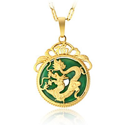 24K Gold Plated Gold Dragon Jade Chain Necklace Pendant Luxury Gift