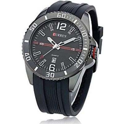 Women's Men's Curren Commercial Rubber Band Large Dial Calendar Quartz Watch