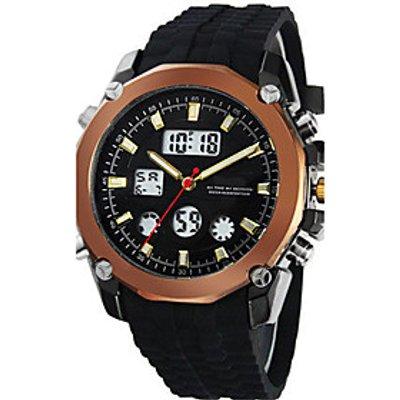 Men's Fashion Watch Digital Rubber Band Black Brown