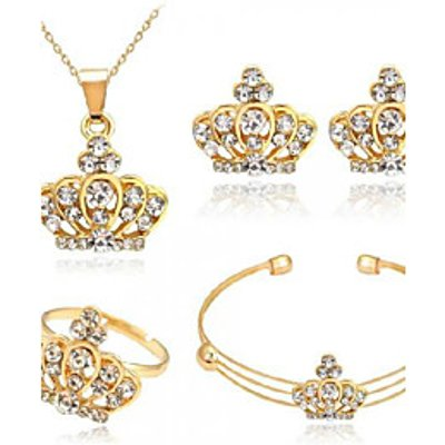 Jewelry Set Rhinestone Euramerican Fashion Alloy Crown Gold Necklace Earrings For Party Daily 1 Set