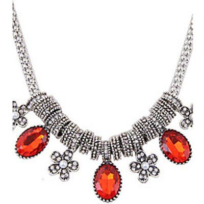 Women's Statement Necklaces Rhinestone Oval Flower Alloy Euramerican Fashion Jewelry Party Daily 1pc