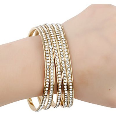 1Set Women's Bangles ID Bracelets Fashion Punk Rock Ferroalloy Rhinestones Circle Jewelry For Casual