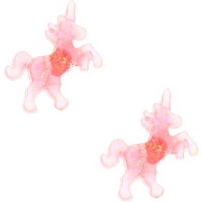 Pink Glitter Unicorn Stud Earrings