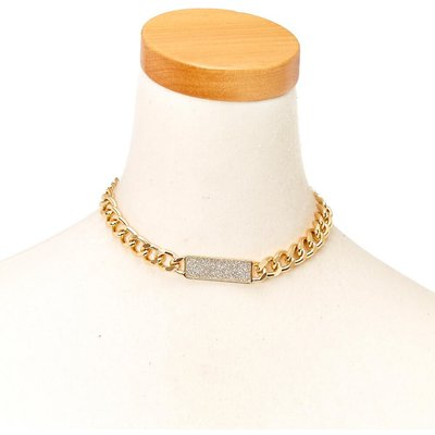 Gold-Tone Chain with Silver Glitter Bar Necklace